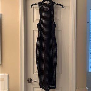 Striped mesh dress